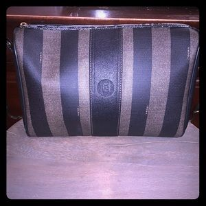 Authentic Fendi Pequin Striped Clutch/Bag ITALY